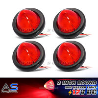 """4 x 12V Red 10 LED 2"""" Round Beehive Cone Side Marker Indicator Light Camper Lamp"""