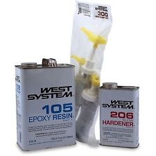 WEST SYSTEM KIT # 1 EPOXY RESIN 105B .98 GALLON +  206B SLOW HARDENER + PUMP KIT