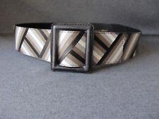 Vintage 80's Ognibene Zendman great design & colors marquetry leather belt