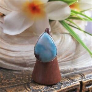 Larimar Emotional Healing Gemstone Ring US 7.5 (E1705)