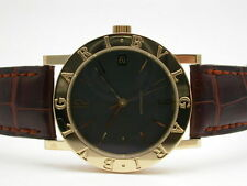 BVLGARI BB33GL 18K YELLOW GOLD BROWN LEATHER BAND AUTOMATIC 33MM UNISEX WATCH