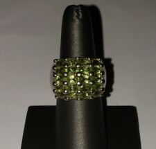 Cluster Ring Size 7.5 Vintage Sterling Silver And Peridot