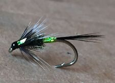 3 Black An Green holographic Cruncher Trout Flies.
