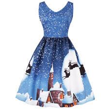 Womens Plus Size Christmas Vintage Fancy Dress Lace Panel Snow Print Swing Dress