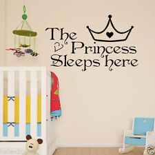 The Princess Sleep Here Wall Art Vinyl Decal Sticker Girls Room Nursery Decor