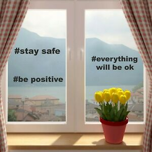 Be Positive Stay Save Everything will be OK Wall Window Car Sticker Decal Vinyl