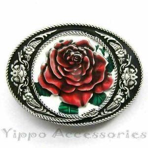 Rose Flower Cowgirl Western Metal Belt Buckle