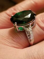 9.50 CT RUSSIAN EMERALD & DIAMOND 10KT SOLID WHITE GOLD RING SIZE 7.5