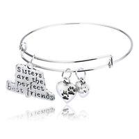 Family Love Bangle Bracelet Jewelry Dog Paw Apple Heart Mom Grandma Dad Sister