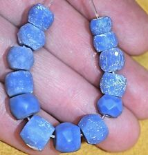Antique Bohemian Excavated Russian Blue Czech Glass Beads From The African Trade
