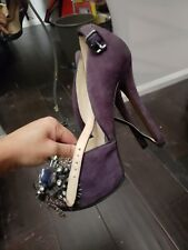 Enzo Angiolini Size 4 THADDEA Black Suede Feather & Jewel Pumps Plum Purple