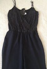 Brand New *Next* (size Uk 14) Tailored Bead Embellished Black Jumpsuit .