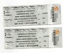 American Idol Live August 1, 2015 Atlantic City 2 Untorn Tickets