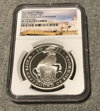 2021 Great Britain £2 1-oz Silver Queen's Beasts White Greyhound NGC PF70 UC FR
