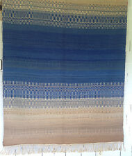 Thick Hand Woven Wool Rug 86 x 58 Knotted Fringe Indigo Blue Wall Hanging