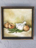 M. JORDAN original Framed PAINTING on Canvas Art onions/peas 10x10+ 1970