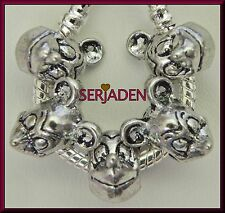 5 Mickey Face Charm Antique Silver Bead fits European Style Charm Bracelet S149