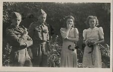WW2 soldier group Worcestershire Home Guard relaxing in garden 1943