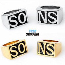Sons Of Anarchy Rings Men Rock Punk Harley Silver Gold Ring 2 Pieces Size 8-13