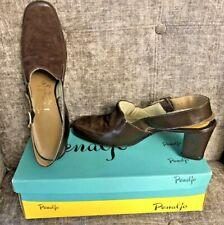 Vintage Penaljo Women's 9.5 S Brown Suede Parklane Buckle Heel Shoes Usa In Box