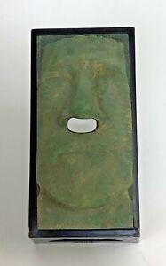 Tiki Tissue Box Holder Green Faux Stone Rotary Hero Inc Easter Island Moai Retro