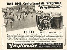 W2701 Cento anni di fotografia Voigtlaender - VITO - Pubblicità del 1940 - Ad