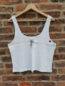 💕 HOLLISTER EMBROIDERED GRAPHIC Tank Top Flowers White BNWT PLUS SIZE UK18 XXL