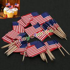 50pcs Party American USA Flag Cocktail Cupcake Food Picks Sticks Cake Decoration