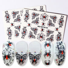6D Nail Stickers Spider Embossed Lavender Nail Art Transfer Decals Decoration