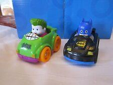 Fisher Price Little People Wheelies CAR Batman Joker Batcave two part Green toy