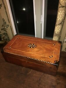 Large Size 1860's Writing Desk With Inlay Design