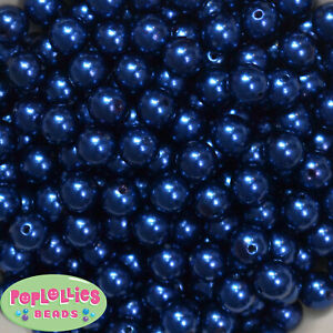 10mm Royal Blue Pearl Finish Acrylic Bubblegum Beads Lot 50 pc.chunky gumball