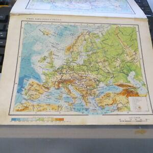 Vintage 1962 RPR Communist Romania School Atlas pages Europe and Romania