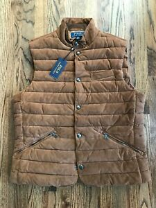 68 $998 Polo Ralph Lauren Men's Quilted Suede Down Brown Puffer Vest Gilet Large