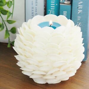 Authentic Cay Cay Seashell Tealight Holder Ivory White Round Hamptons Coastal
