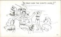 Man Goes Insane Beach Bathing Beauties Nut House Truck Comic Postcard