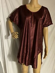 Vintage Secret Treasures Satin Sleepshirt Style Nightgown Burgundy 1X