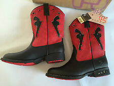 BNWT Little Boys Sz UK 12 US 13 Roper Red & Black Light Up Studded Western Boots