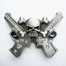 Skull with Rhinestone Guns Belt Buckle