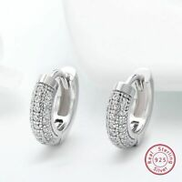 Echt 925 Sterling Silber Ohrringe Zirkon Kleine Hoop Earing Schmuck Damen Trendy