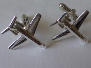sterling silver Lear Jet/ plane cufflinks UK made