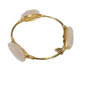 Bourbon & Bowties Gold Plated Wire Wrapped Rose Quartz Bangle Bracelet