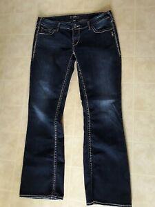 Silver Jeans Aiko Boot Cut Womens Blue Denim Size 34 x 33 Dark Wash Mid Rise