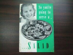 Vtg So you're Going to make a Salad Pompeian Olive Oil Cookbook Recipe Cookbook