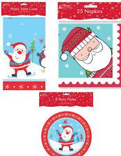 CHRISTMAS MATCHING TABLE COVER, NAPKINS PAPER PLATESTABLECLOTH XMAS CUTE SANTA