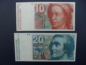 2No. 1987/89 SWITZERLAND 10 & 20 FRANKEN BANKNOTES FRESH ORIGINAL UNC