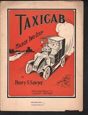 Taxicab March 1910 Large Format Sheet Music