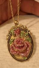 Stunning Leaf Top Goldtone Sculpted Pink Green Rose Rhinestone Pendant Necklace