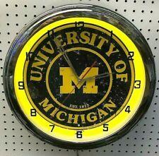 "16"" University of MICHIGAN Wolverines Sign Neon Clock Go Blue"
