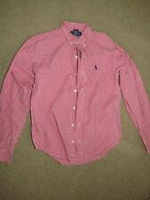 Super Ralph Lauren red+whitel gingham / checkered long-slv button shirt boys M